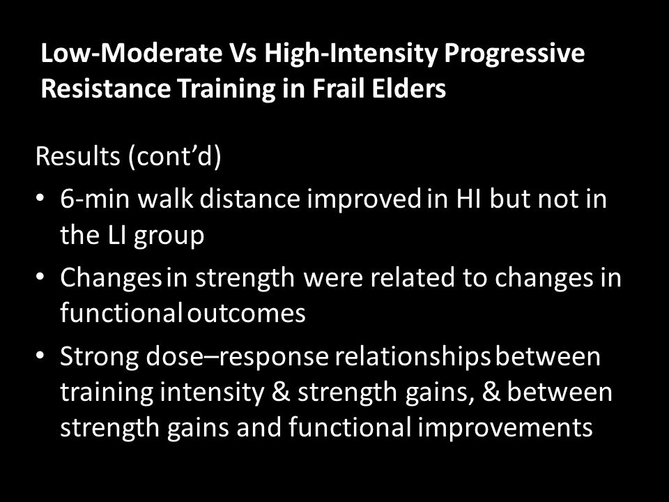 Low-Moderate Vs High-Intensity Progressive Resistance Training in Frail Elders
