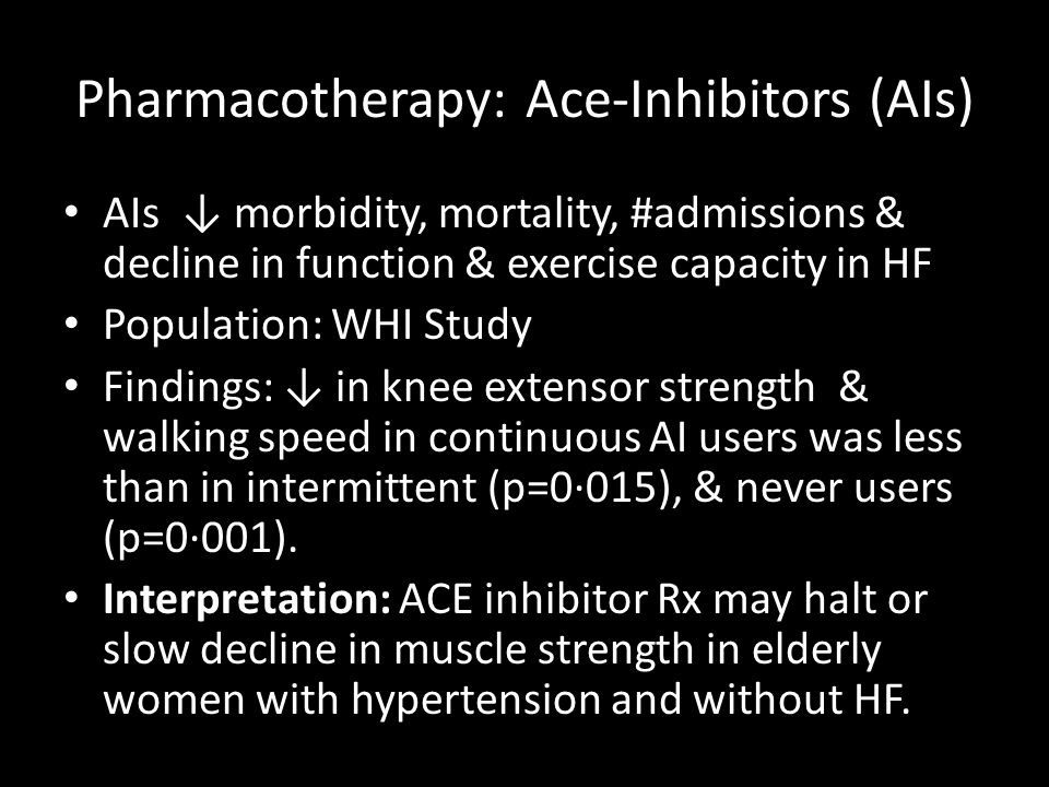 Pharmacotherapy: Ace-Inhibitors (AIs)