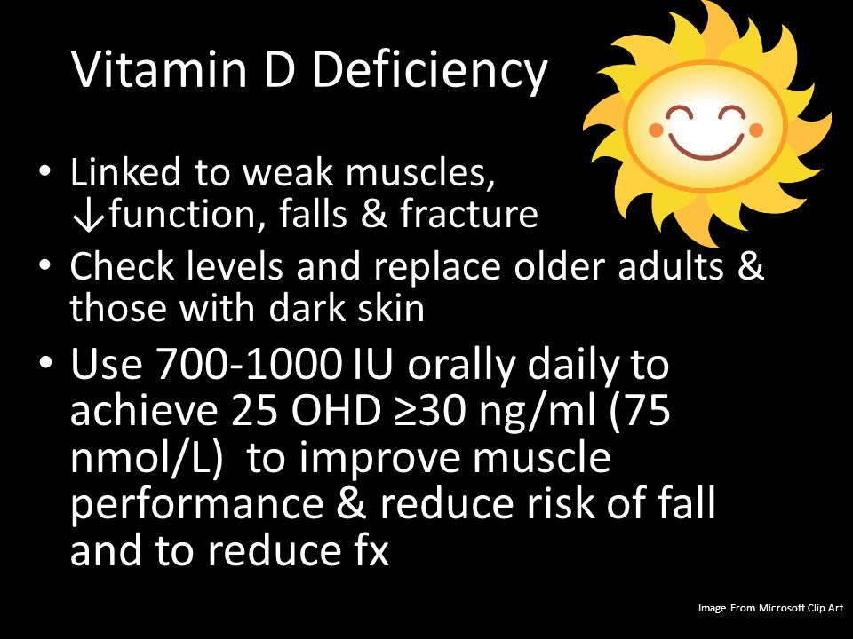 Vitamin D Deficiency Linked to weak muscles, ↓function, falls & fracture. Check levels and replace older adults & those with dark skin.