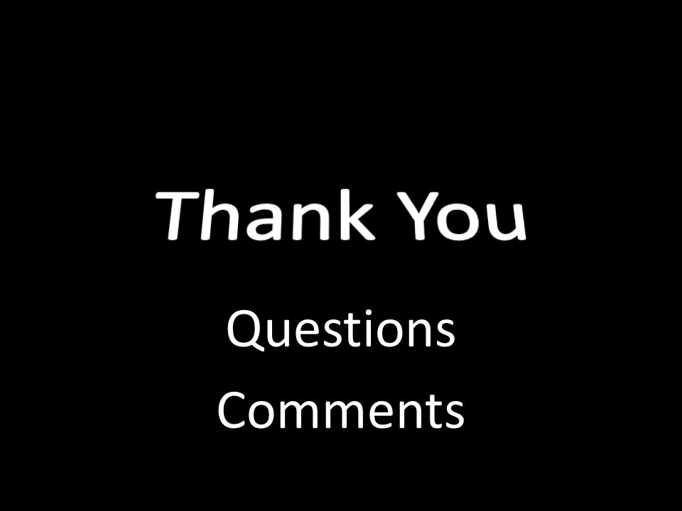 Thank You Questions Comments