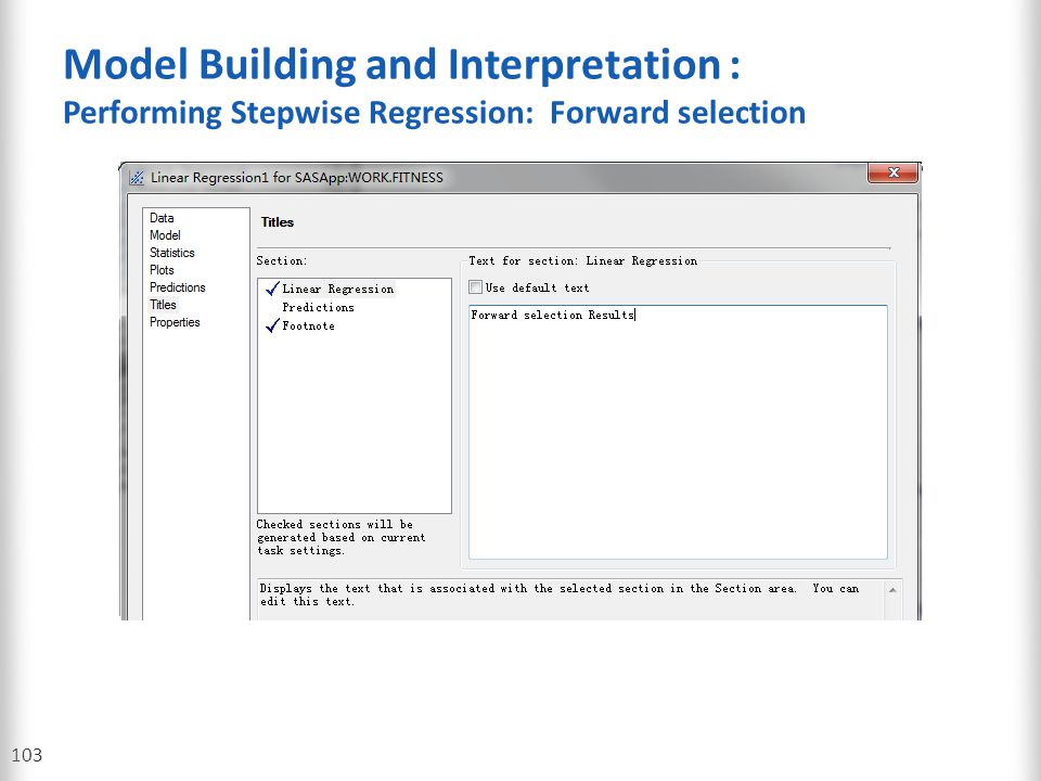 Model Building and Interpretation : Performing Stepwise Regression: Forward selection