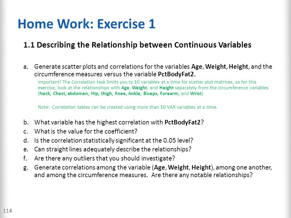 Home Work: Exercise 1 1.1 Describing the Relationship between Continuous Variables.