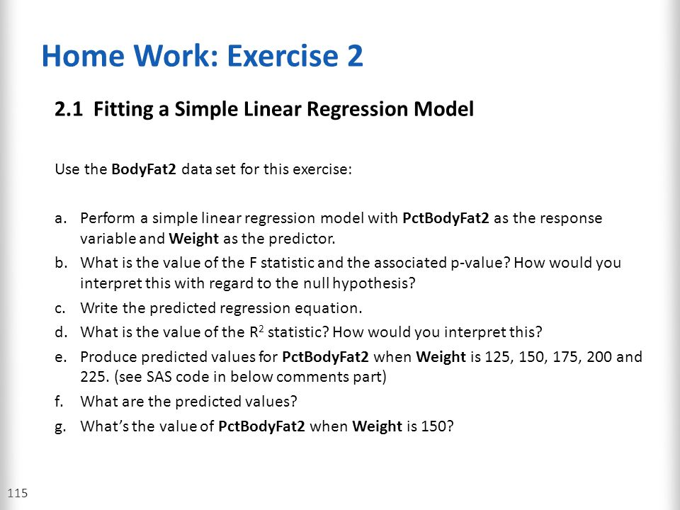 Home Work: Exercise 2 2.1 Fitting a Simple Linear Regression Model