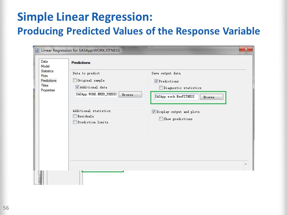 Simple Linear Regression: Producing Predicted Values of the Response Variable