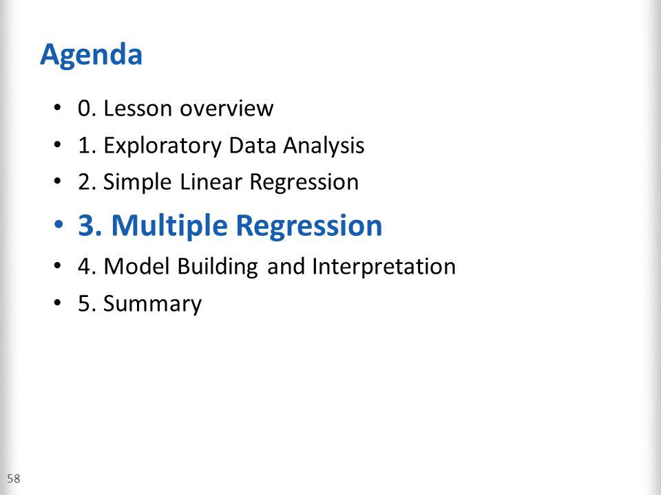 Agenda 3. Multiple Regression 0. Lesson overview
