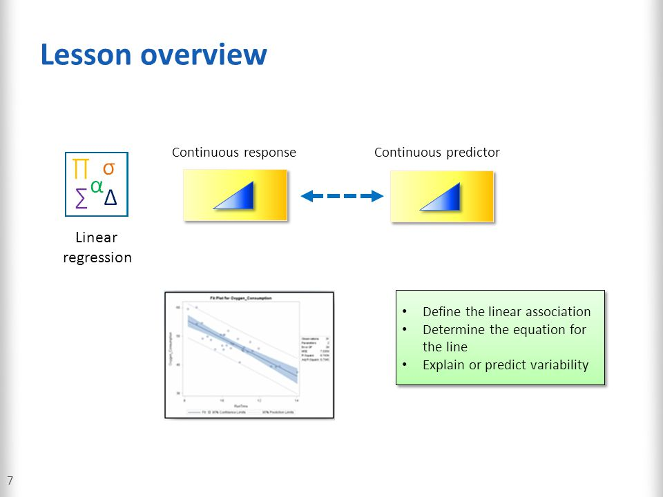 Lesson overview Linear regression Continuous response