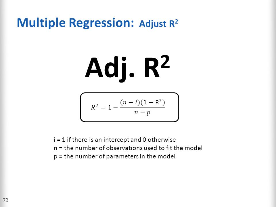 Multiple Regression: Adjust R2