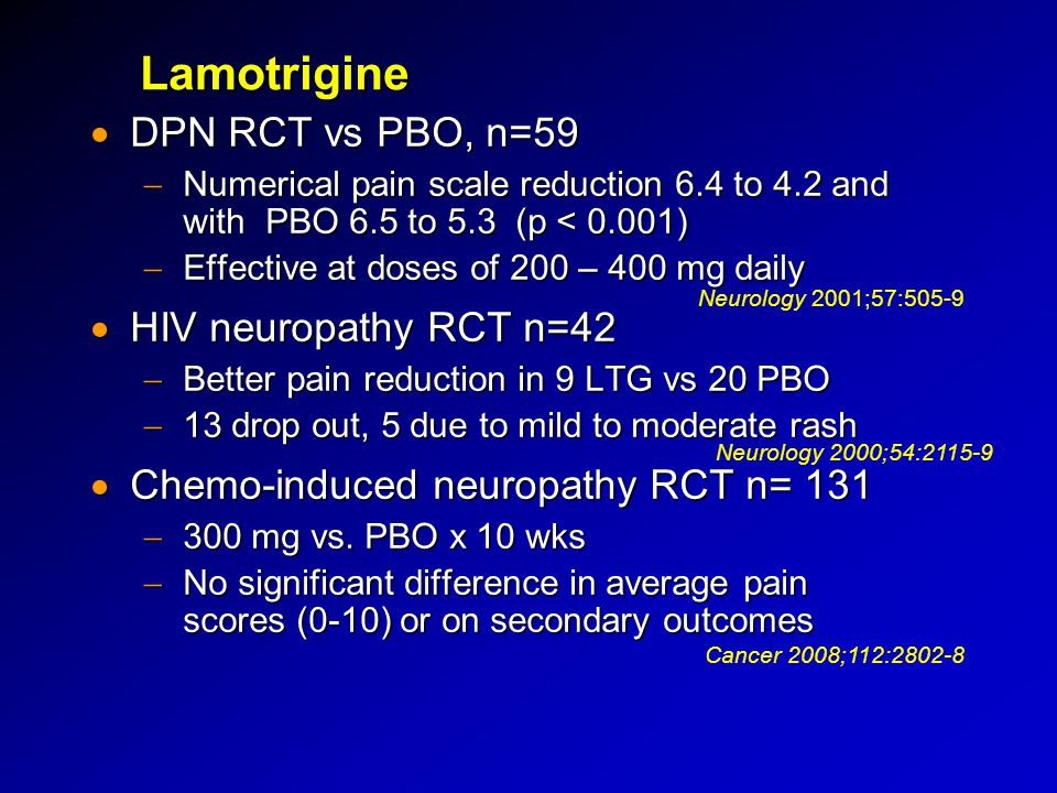 Lamotrigine DPN RCT vs PBO, n=59 HIV neuropathy RCT n=42