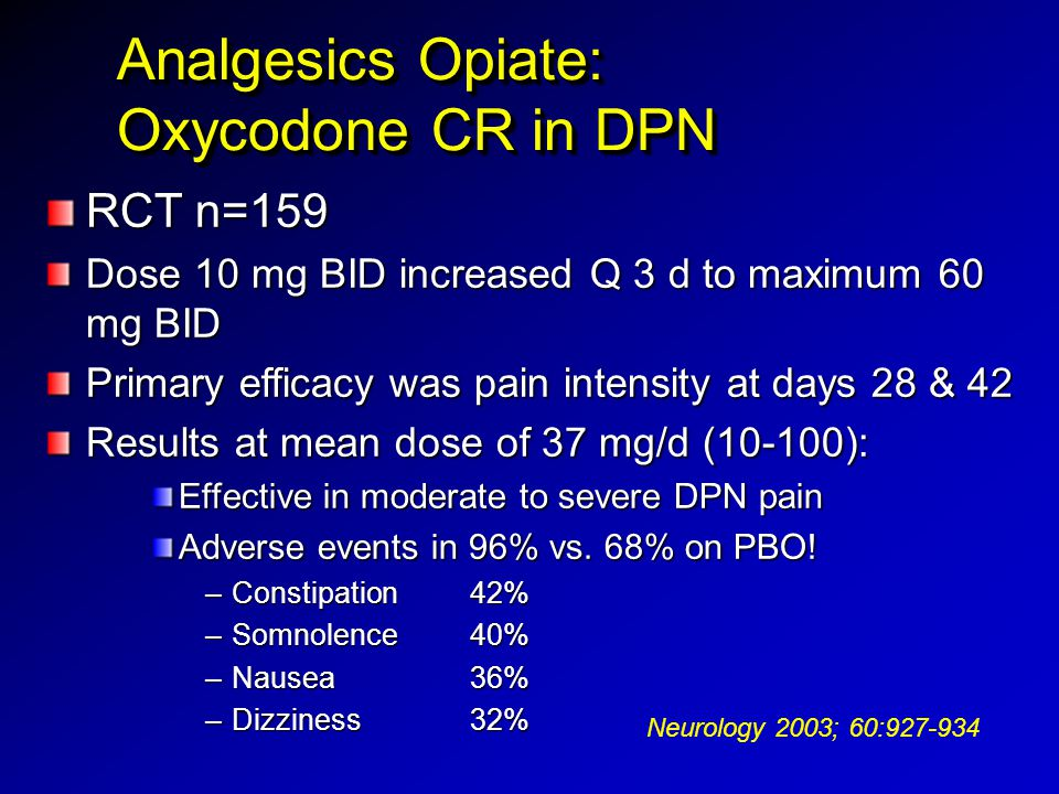 Analgesics Opiate: Oxycodone CR in DPN RCT n=159