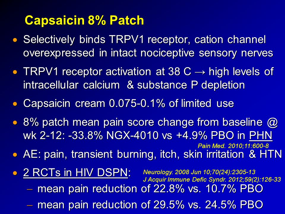 Capsaicin 8% Patch Selectively binds TRPV1 receptor, cation channel overexpressed in intact nociceptive sensory nerves.
