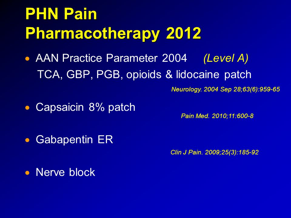 PHN Pain Pharmacotherapy 2012