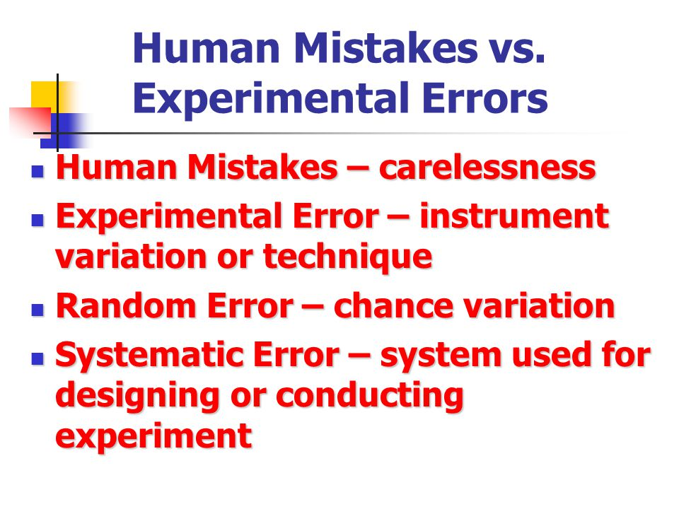 Human Mistakes vs. Experimental Errors