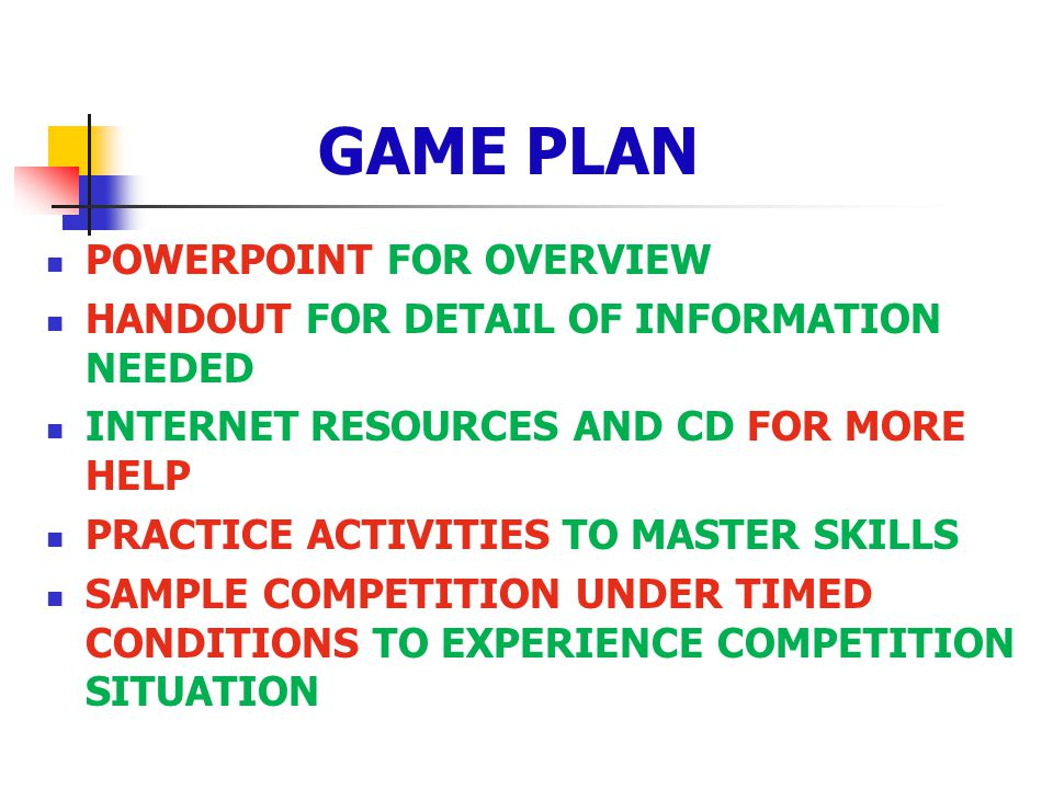 GAME PLAN POWERPOINT FOR OVERVIEW