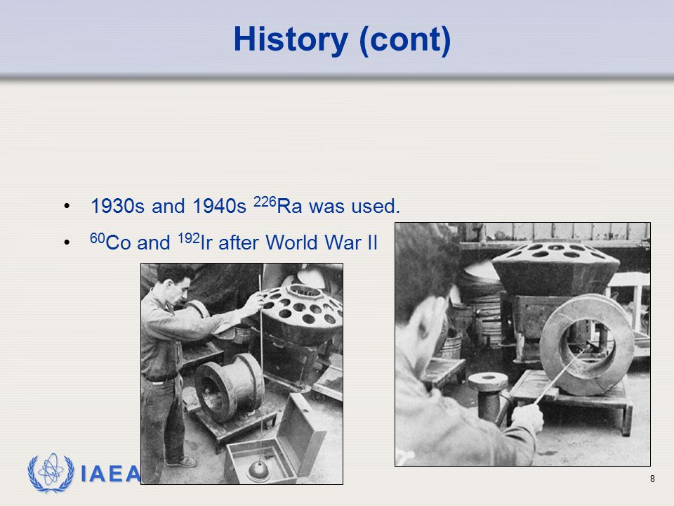 History (cont) 1930s and 1940s 226Ra was used.