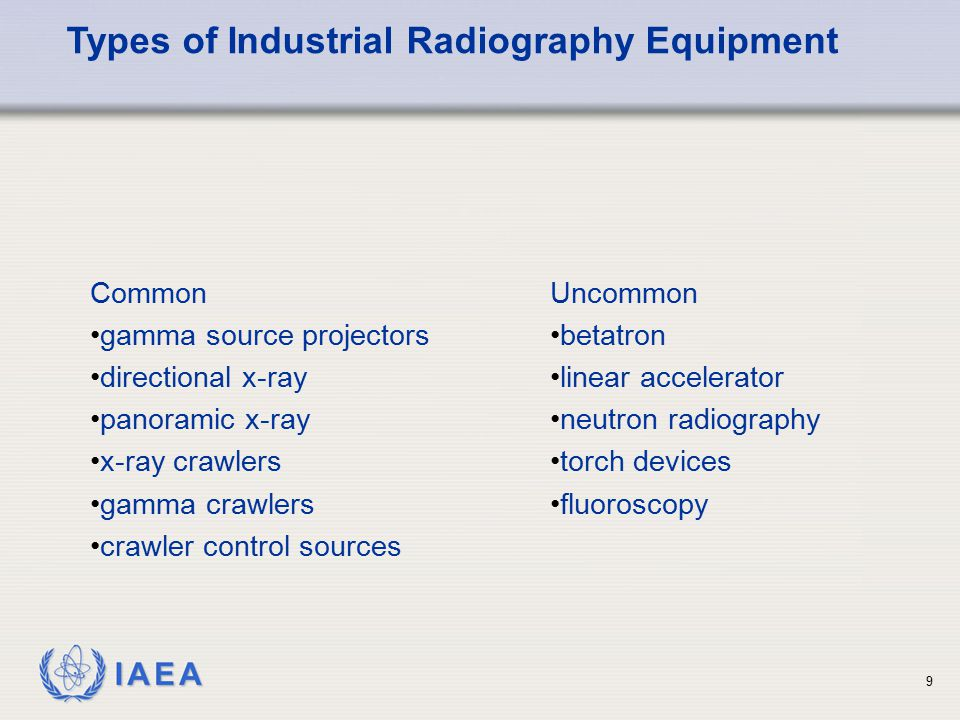 Types of Industrial Radiography Equipment