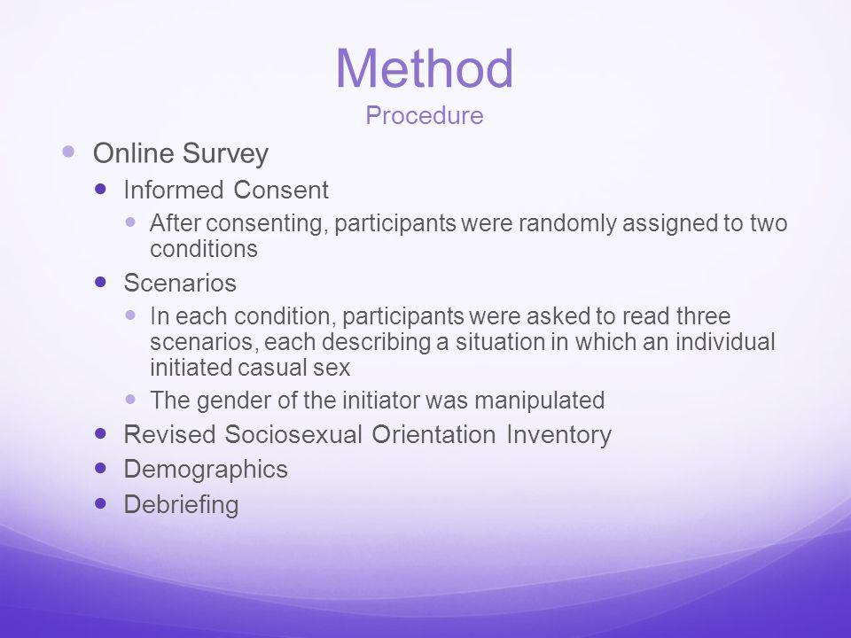 Method Procedure Online Survey Informed Consent Scenarios