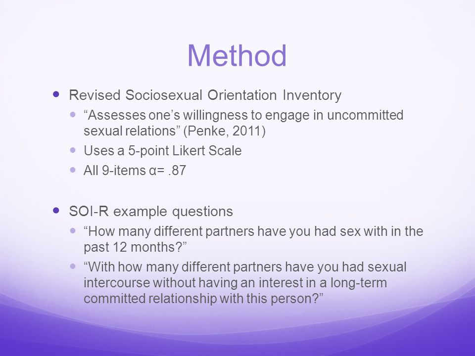 Method Revised Sociosexual Orientation Inventory