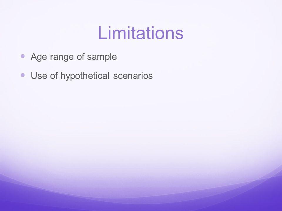 Limitations Age range of sample Use of hypothetical scenarios