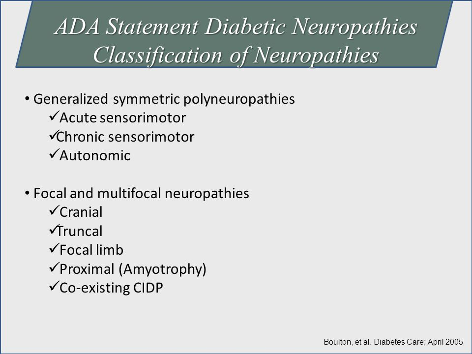 ADA Statement Diabetic Neuropathies Classification of Neuropathies