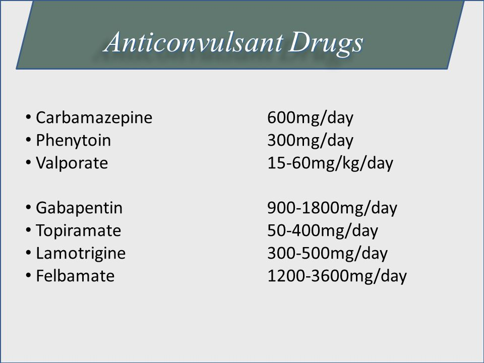 Anticonvulsant Drugs Carbamazepine 600mg/day Phenytoin 300mg/day