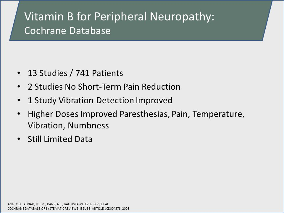Vitamin B for Peripheral Neuropathy: Cochrane Database