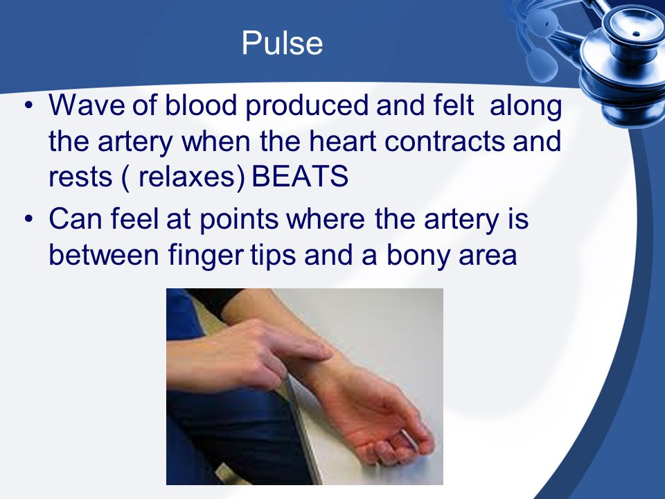 Pulse Wave of blood produced and felt along the artery when the heart contracts and rests ( relaxes) BEATS.