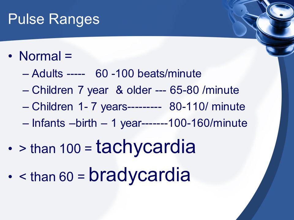 Pulse Ranges Normal = > than 100 = tachycardia