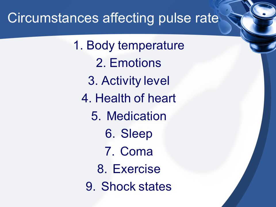 Circumstances affecting pulse rate