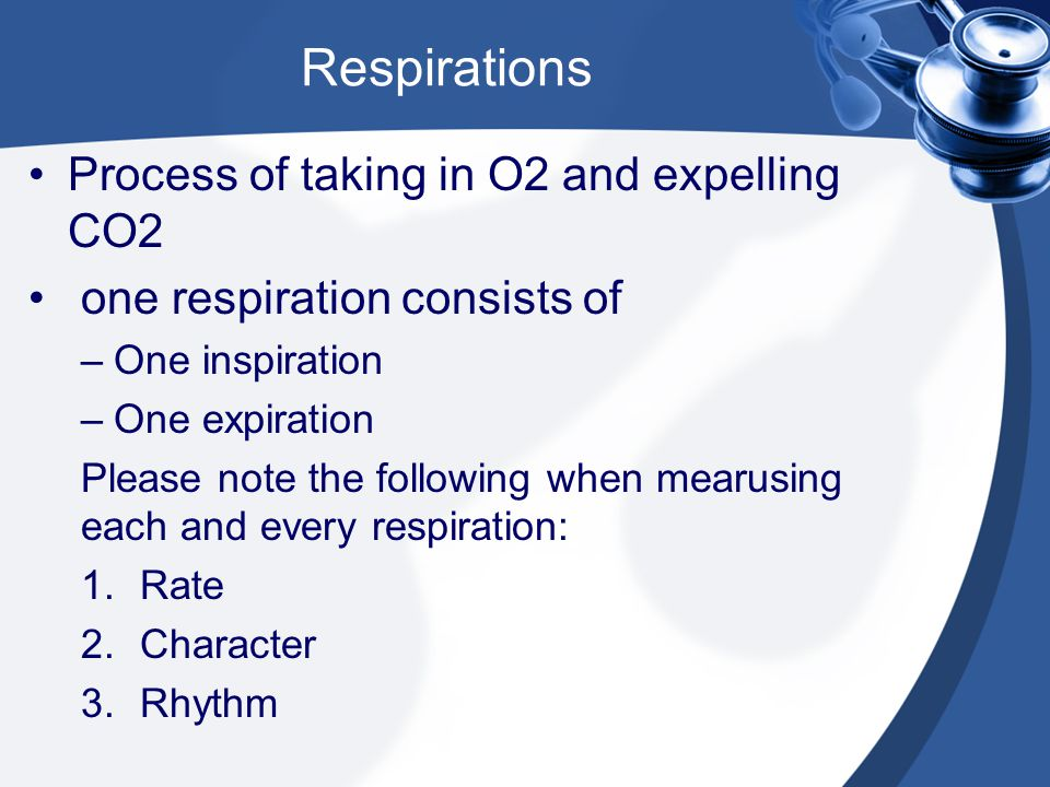 Respirations Process of taking in O2 and expelling CO2