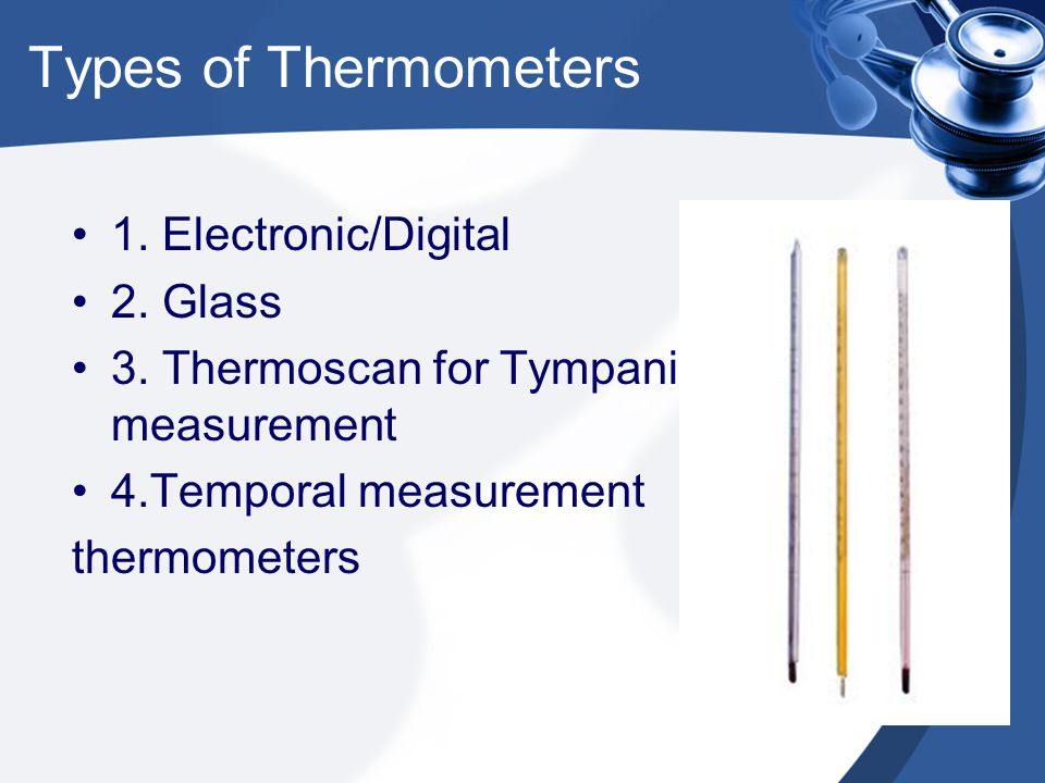 Types of Thermometers 1. Electronic/Digital 2. Glass