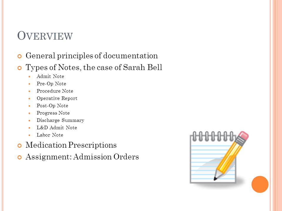 Overview General principles of documentation