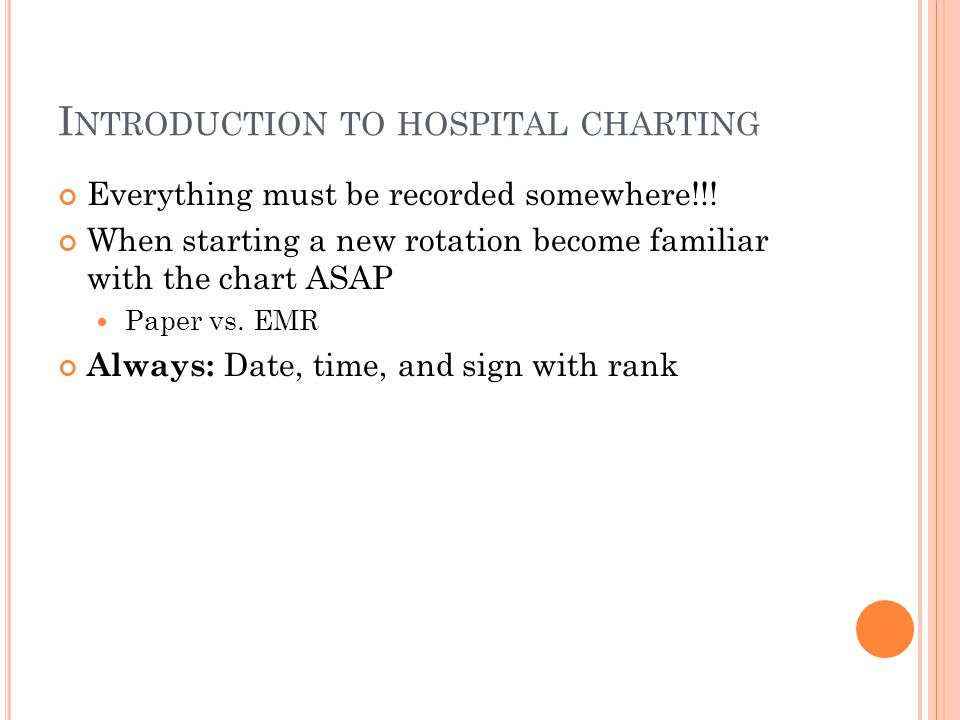Introduction to hospital charting