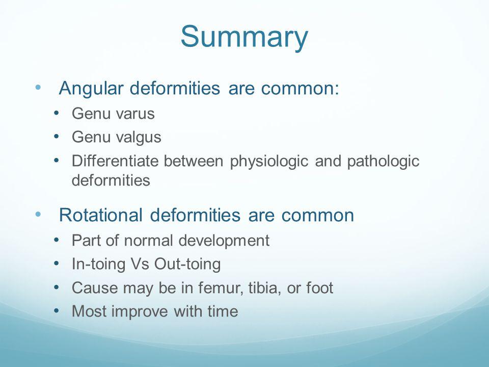 Summary Angular deformities are common: