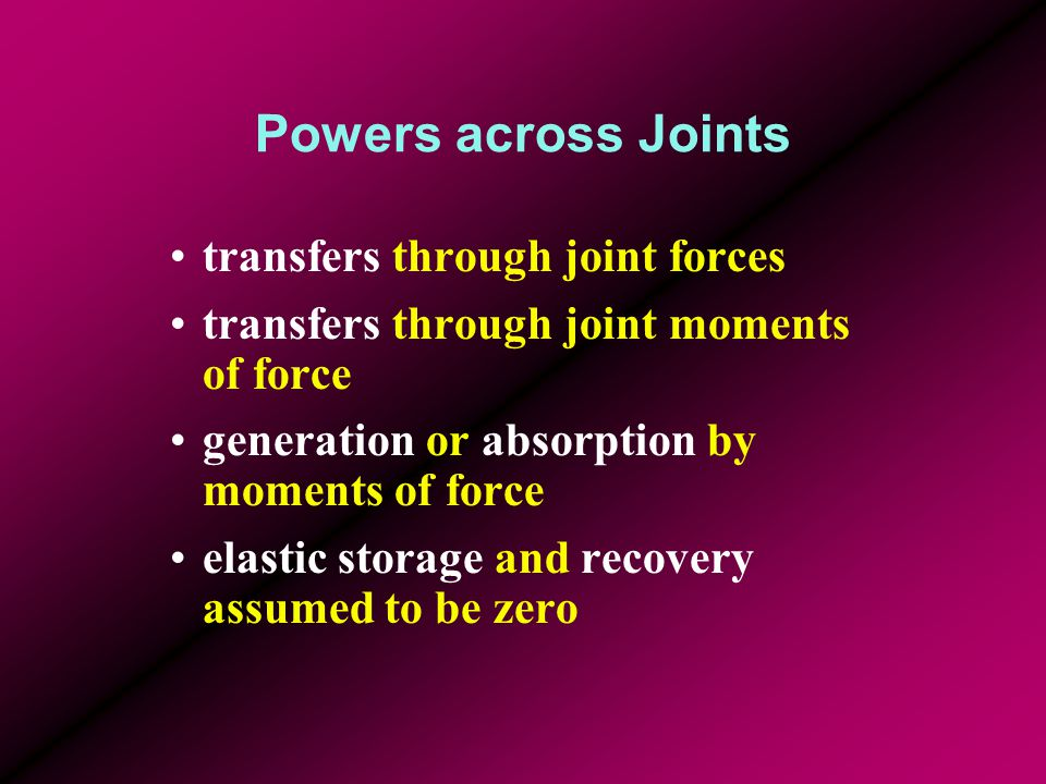 Powers across Joints transfers through joint forces