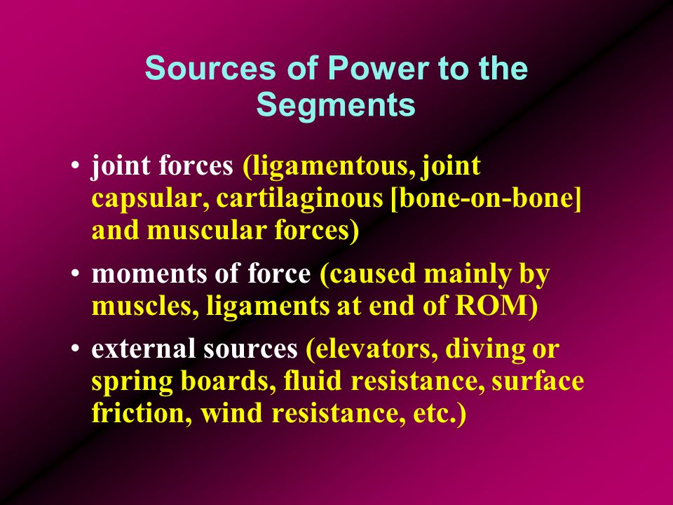 Sources of Power to the Segments