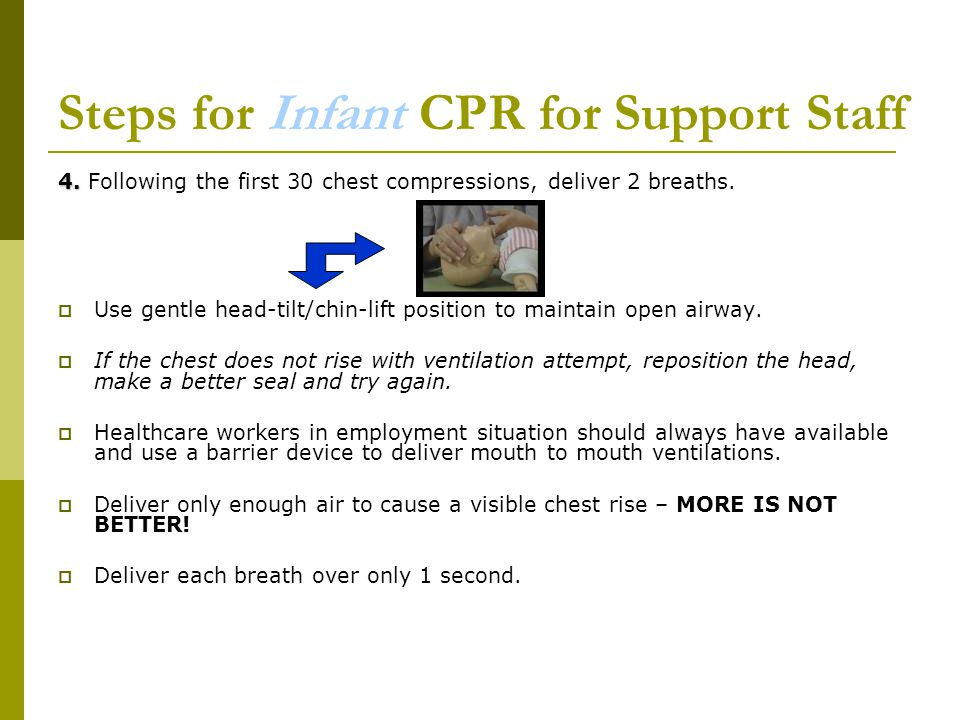 Steps for Infant CPR for Support Staff