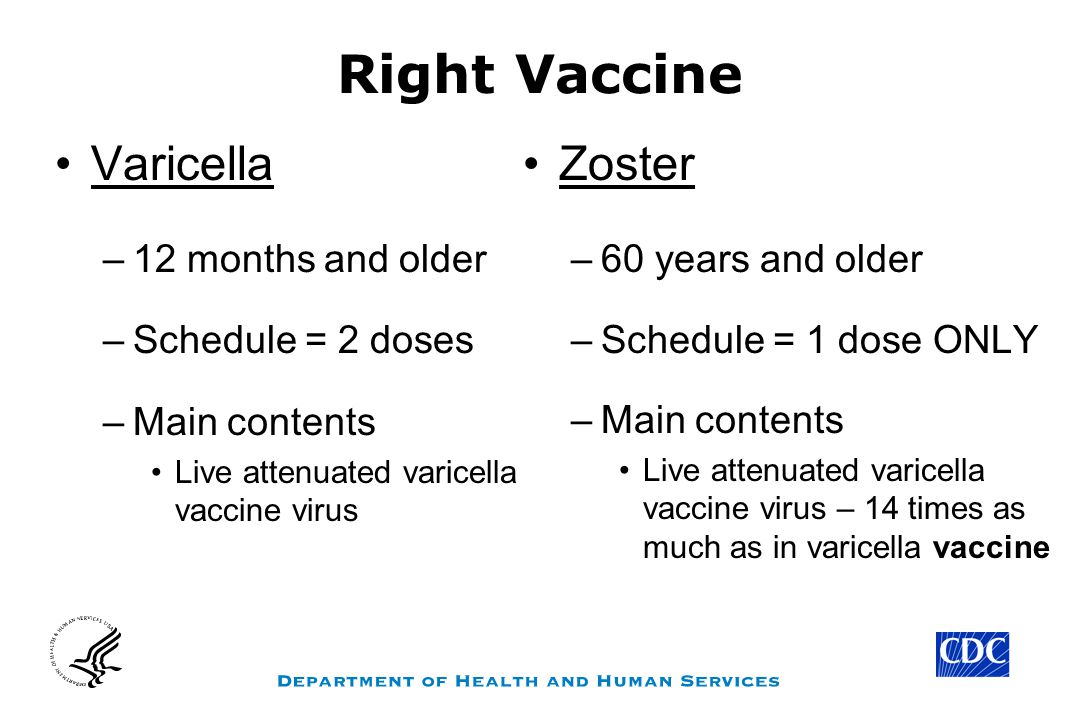 Right Vaccine Varicella Zoster 12 months and older Schedule = 2 doses