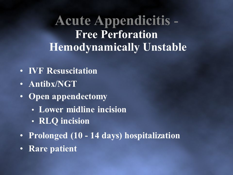 Acute Appendicitis - Free Perforation Hemodynamically Unstable