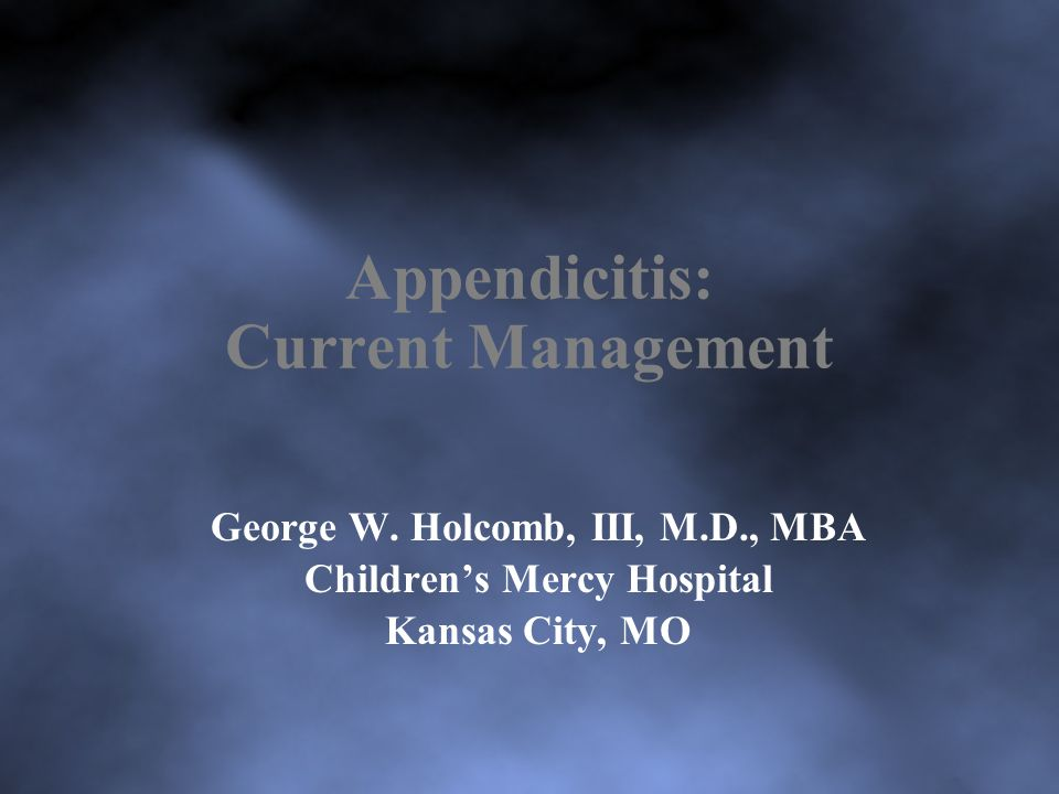 Appendicitis: Current Management