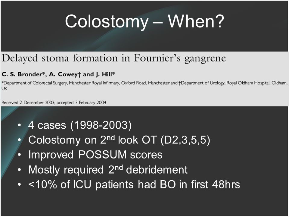 Colostomy – When 4 cases (1998-2003)
