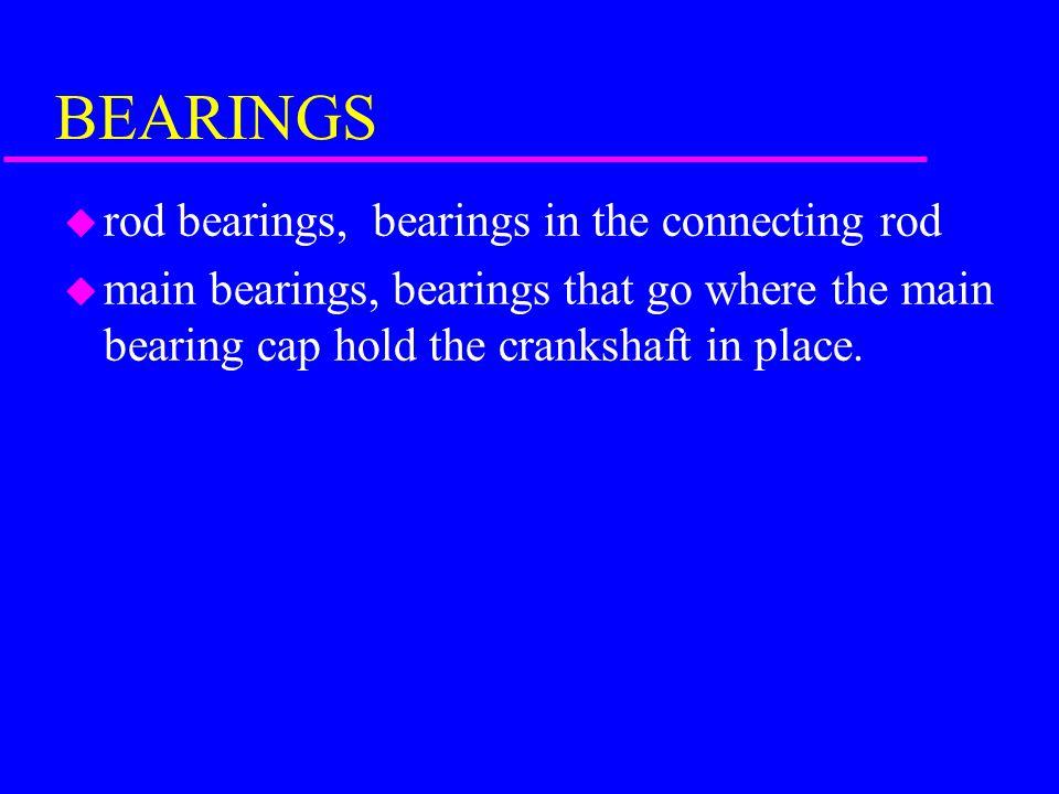BEARINGS rod bearings, bearings in the connecting rod