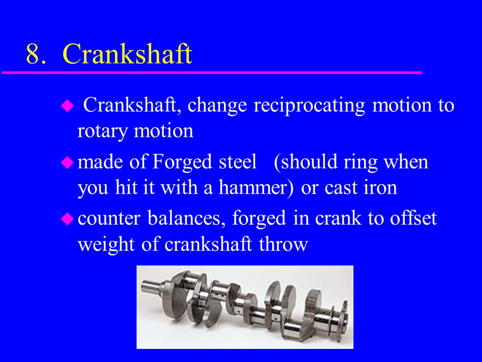 8. Crankshaft Crankshaft, change reciprocating motion to rotary motion