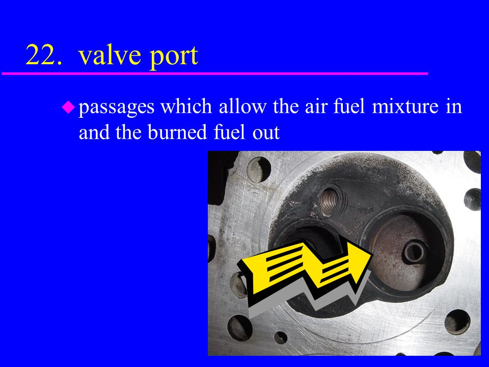 22. valve port passages which allow the air fuel mixture in and the burned fuel out