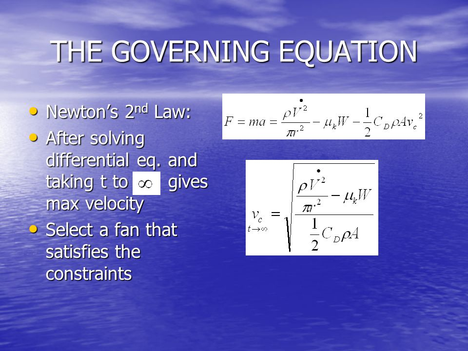 THE GOVERNING EQUATION