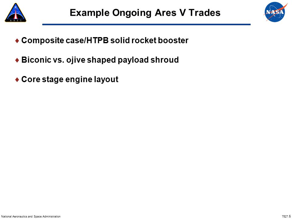 Example Ongoing Ares V Trades