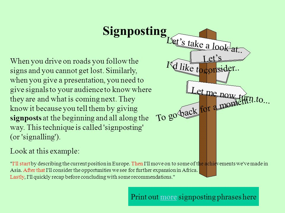 Print out more signposting phrases here