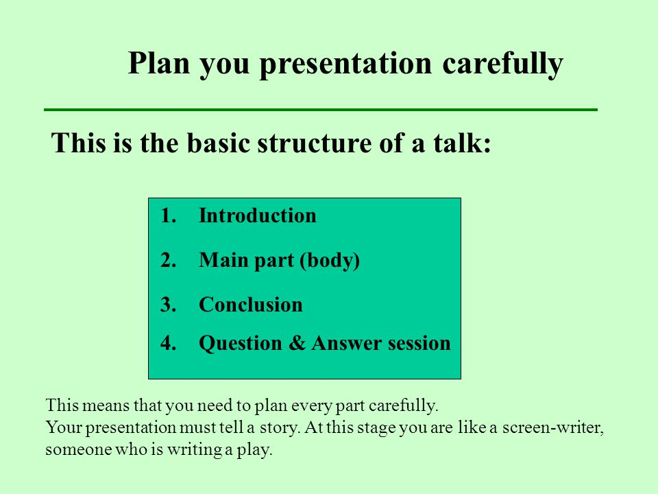 Plan you presentation carefully