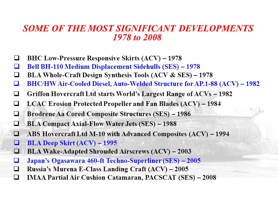 SOME OF THE MOST SIGNIFICANT DEVELOPMENTS 1978 to 2008