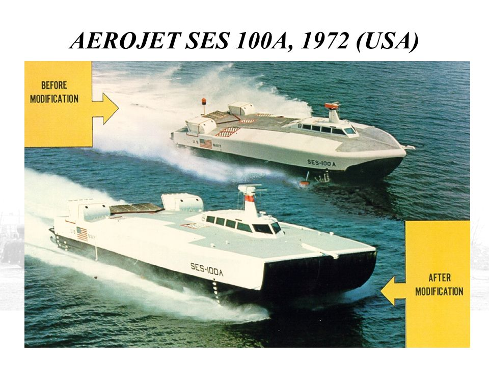 AEROJET SES 100A, 1972 (USA) THE 100A WAS DESIGNED BY THE AEROJET GENERAL CORPORATION AND ACHIEVED A SPEED OF 76 KNOTS WITH WATERJET PROPULSION.