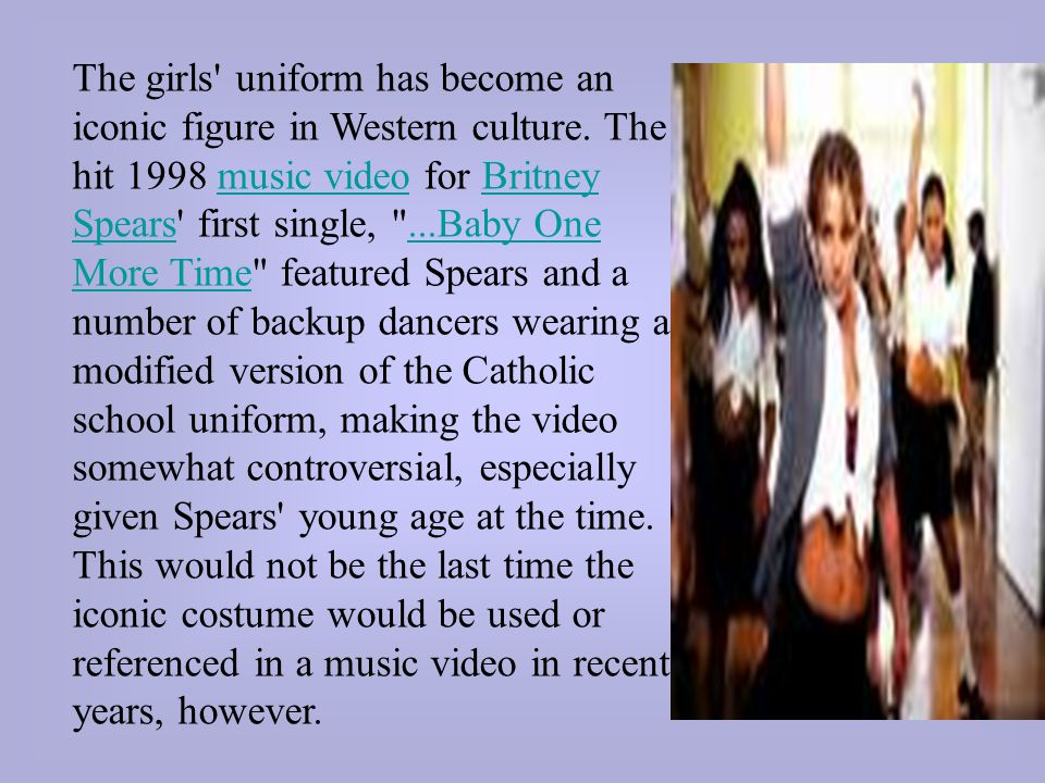 The girls uniform has become an iconic figure in Western culture